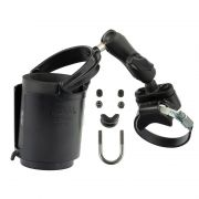RAM Strap Clamp, Roll Bar Mount with Double Socket Arm & Level Cup™ Drink Holder (Koozie Included)