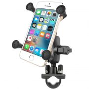 RAM Handlebar Rail Mount, Zinc Coated U-Bolt, Short Double Socket Arm & X-Grip® for Phones/Phablets
