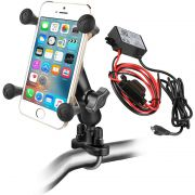 RAM Handlebar Rail Mount with Universal X-Grip and Hardwire Charger with Micro-B USB Connector