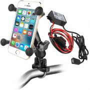 RAM Handlebar Rail Mount with Universal X-Grip Cradle and Hardwire Charger with USB Type A Connector