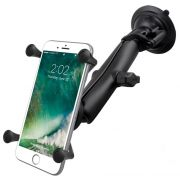 RAM Twist-Lock™ Suction Cup Mount with LONG Length Double Socket Arm & Universal X-Grip® Large Phone/Phablet Cradle
