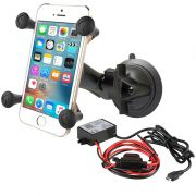 RAM Twist-Lock™ Suction Cup Mount with Universal X-Grip and Hardwire Charger with Micro-B USB Connector