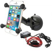 RAM Twist-Lock™ Suction Cup Mount with Universal X-Grip Cradle and Hardwire Charger with USB Type A Connector