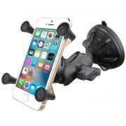 RAM Composite Twist-Lock™ Suction Cup Mount with Short Double Socket Arm & Universal X-Grip® Cell Phone Cradle