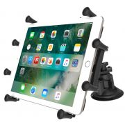 RAM Dual Articulating Suction Cup with Short Double Socket Arm and Universal X-Grip® Cradle for 10
