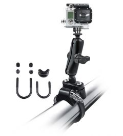 "RAM Strap Clamp, Roll Bar Mount with 1"" Ball & Custom GoPro® Hero Adapter"