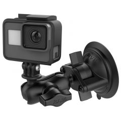 "RAM Twist-Lock™ Suction Cup Mount, Short Double Socket Arm & 1"" Diameter Ball with Custom GoPro® Hero Adapter"