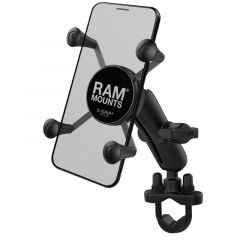 RAM Handlebar Rail Mount with Zinc Coated U-Bolt Base and Universal X-Grip® Cell/iPhone Cradle